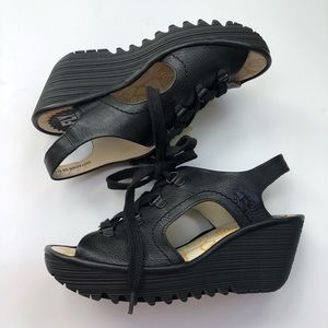 Fly London Ylfa black lace up wedges size 6